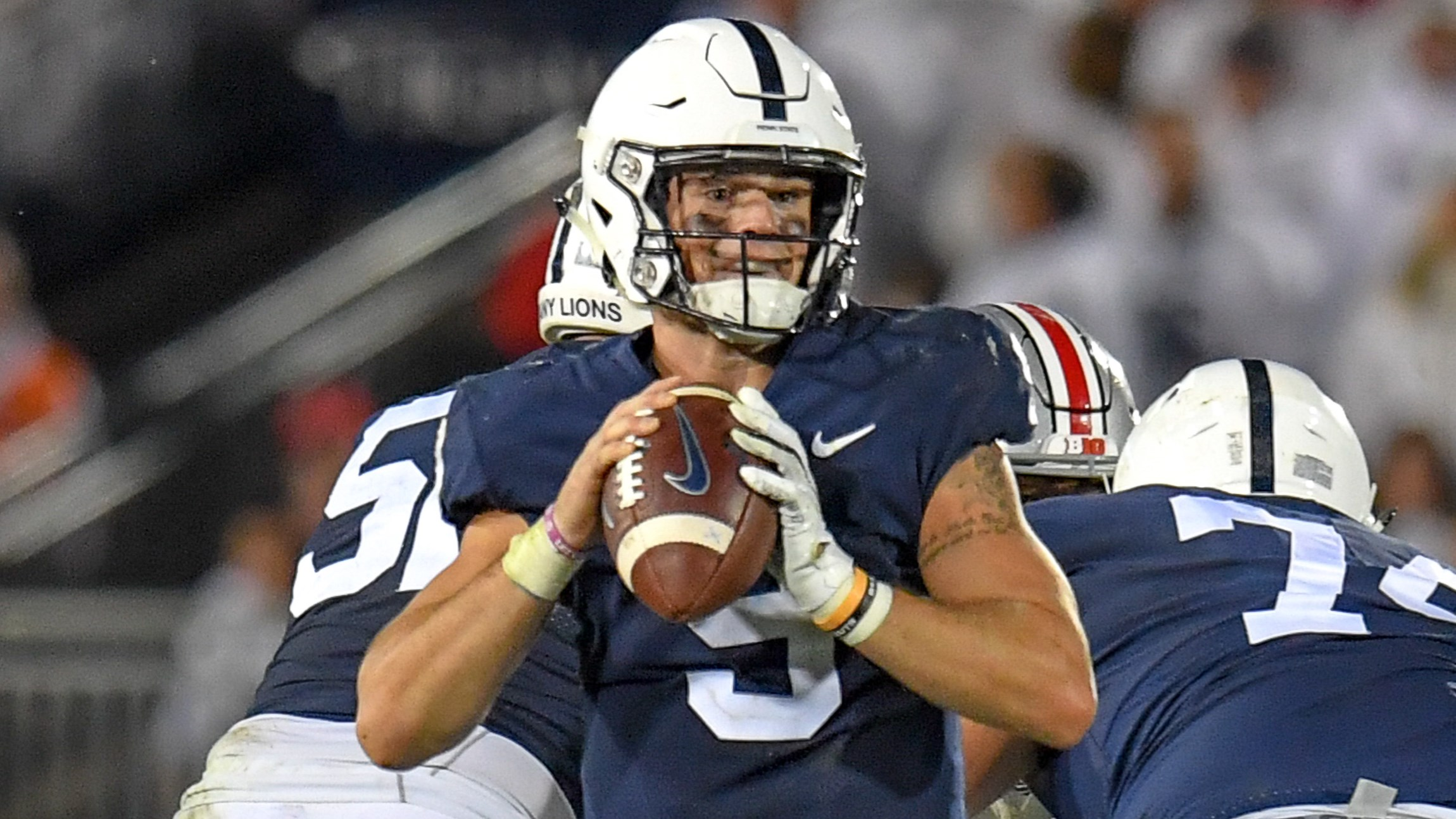 Penn State s Trace McSorley (9) during fourth quarter action of the Nittany  Lions game. Football ... f01568808