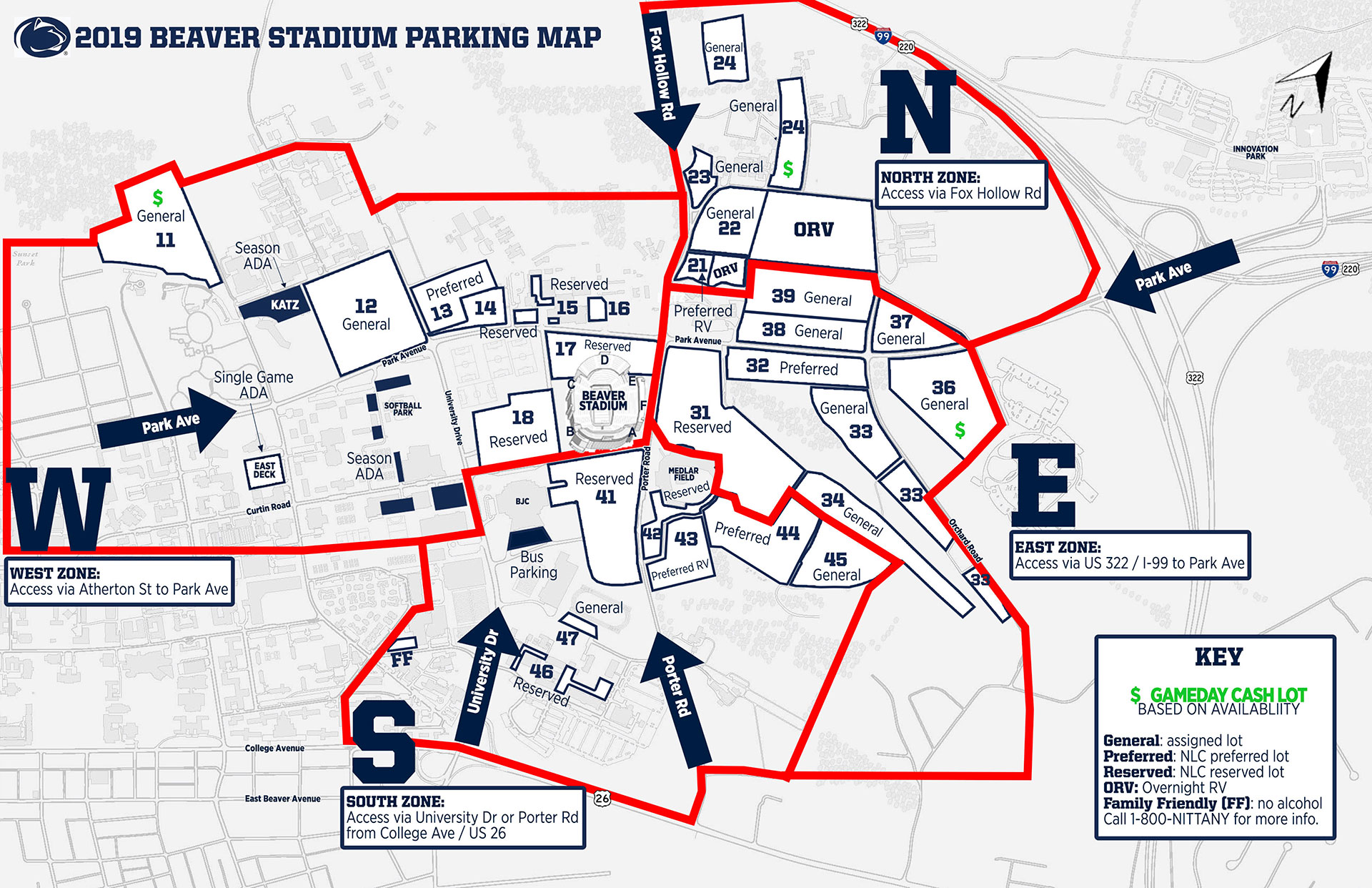 Stanford Football Parking Map Football Parking Zones   Penn State University Athletics