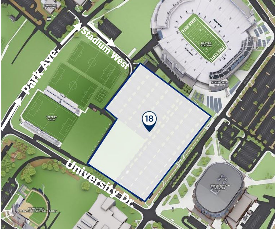 West Zone- Lot 18 - Penn State University Athletics on map of arco arena, map of van andel arena, map of seven springs mountain resort, map of fitzgerald theater, map of verizon wireless arena, map of la sports arena, map of mgm grand garden arena, map of york fair, map of burton coliseum, map of germain arena, map of ppl park, map of john paul jones arena, map of bramlage coliseum, map of pinnacle bank arena, map of time warner cable arena, map of value city arena, map of blue cross arena, map of delaware state fair, map of matthew knight arena, map of first niagara pavilion,