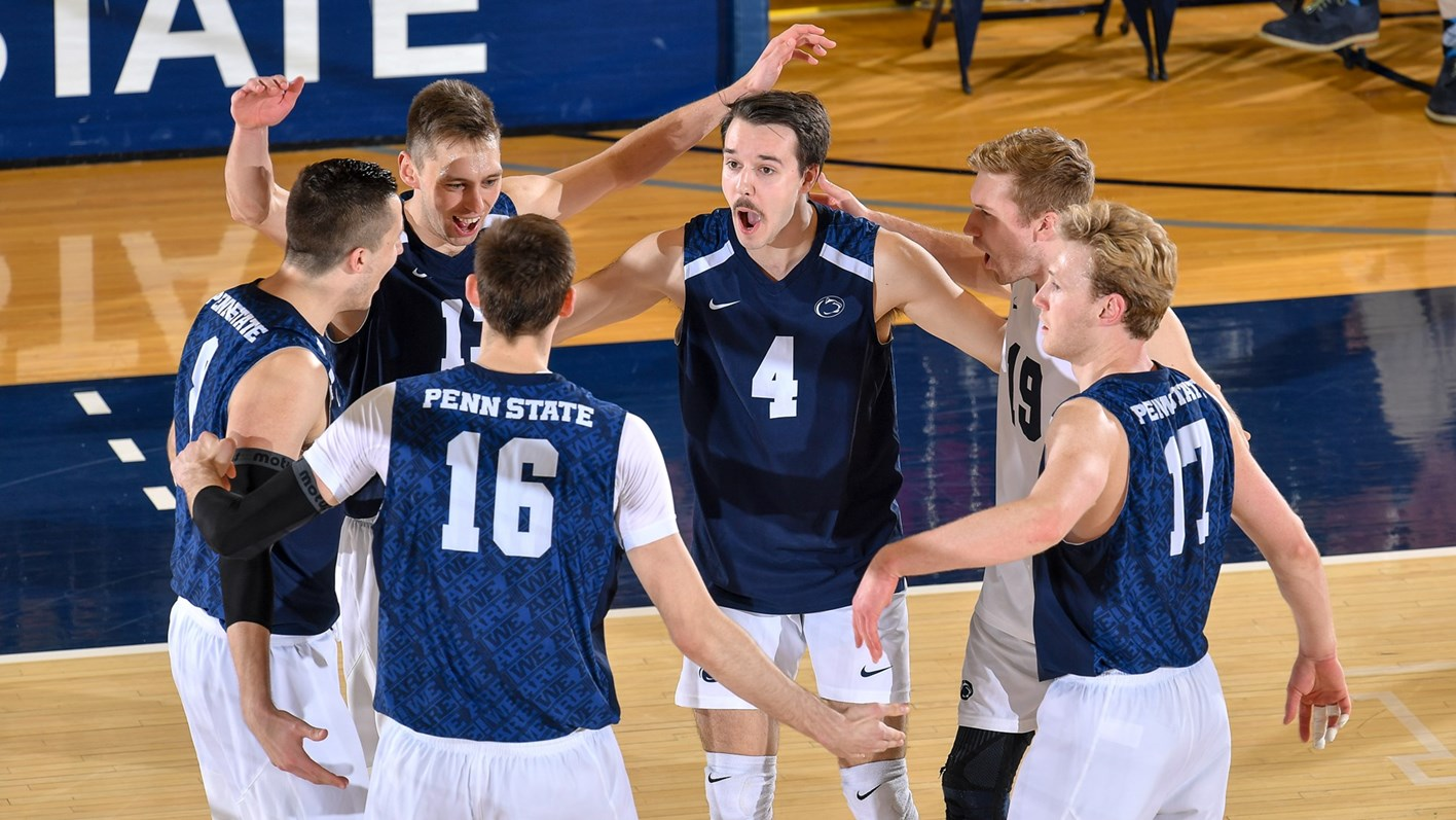 a0ed07e29 Penn State's men's volleyball team celebrates a point in its 3-0 loss to  George
