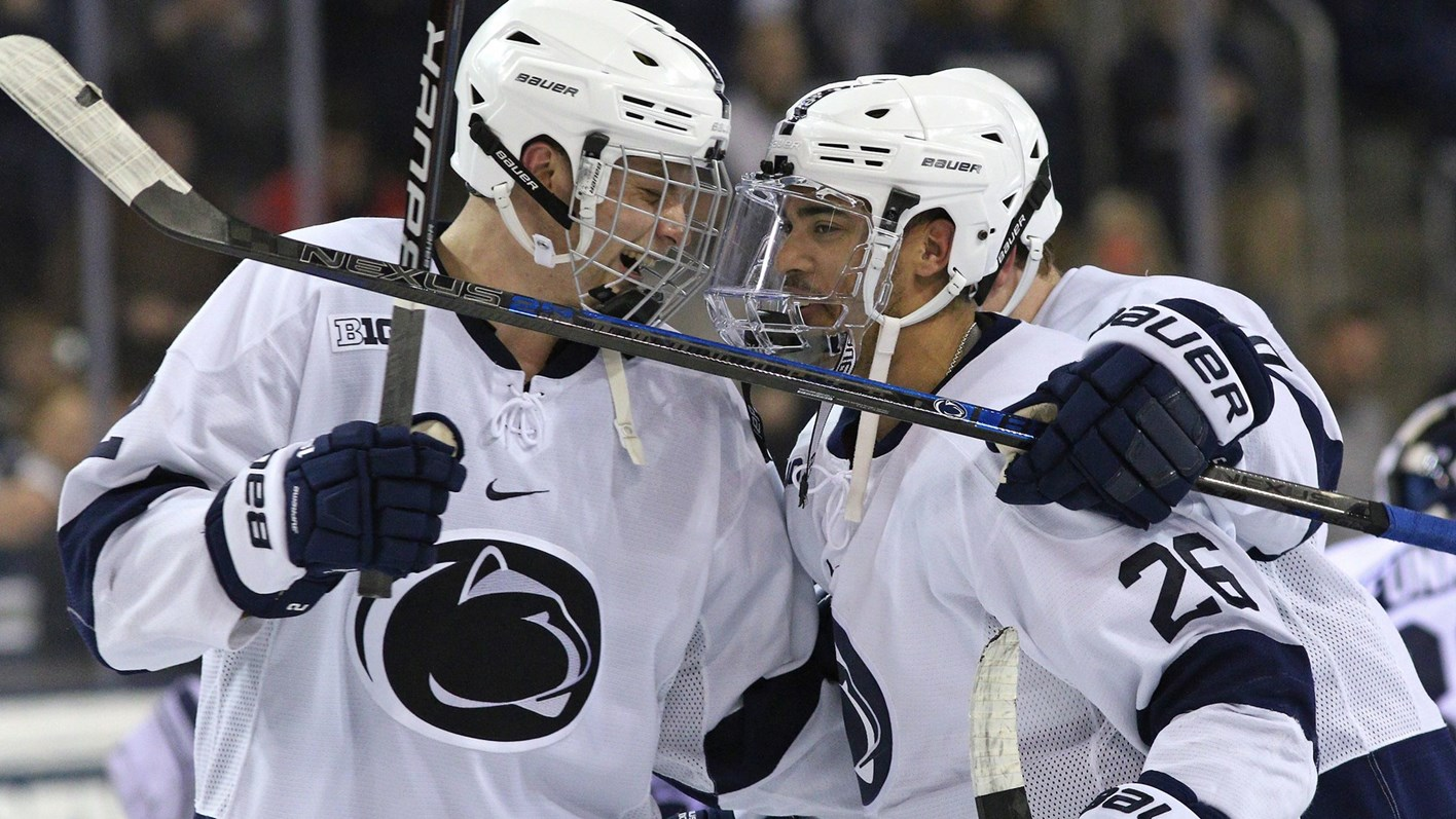 613fcb2c Penn State's Liam Folkes (26) is congratulated on his game winning goal by  Cole